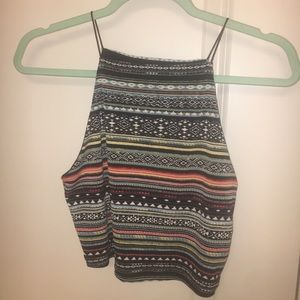 Forever 21 Strappy Tribal Patterned Crop Top